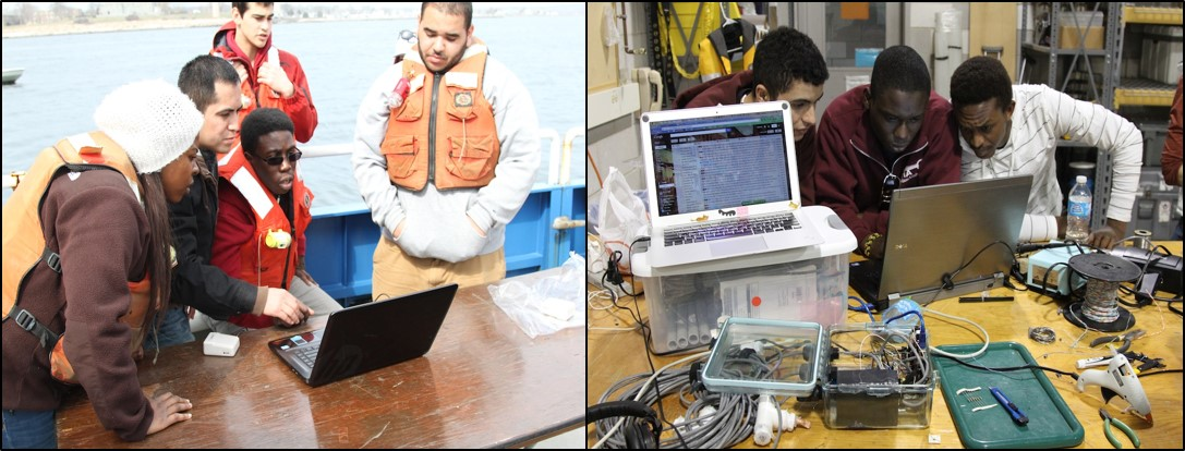 LSAMP students working with their remote ocean sensing devices