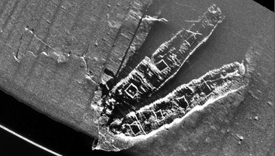 Sidescan image of another shipwreck, the Palmer & Crary in Stellwagen Bank National Marine Sanctuary (credit: NURTEC/SBNMS)